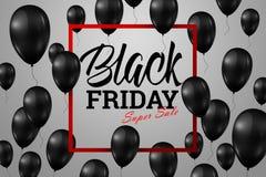Продажа пятницы надписи черная, плакат с сияющими воздушными шарами Стоковое Изображение