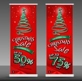 Продажа рождества свертывает вверх шаблон знамени, вектор плана рогульки Стоковые Фото
