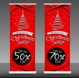 Продажа рождества свертывает вверх шаблон знамени, вектор плана рогульки Стоковое Изображение RF