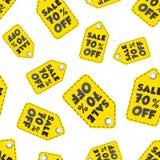Продажа 70% с предпосылки картины бирки вида безшовной Дело плоское Стоковые Фото