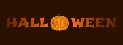 Продажа хеллоуина - знамя для продажи хеллоуина с тыквой вместо письма o иллюстрация штока
