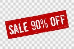 Продажа 90 Grunge красная с квадратной резиновой печати уплотнения иллюстрация вектора