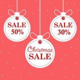 Продажа ` s рождества и Нового Года Шарики красивой скидки и рождества продвижения белого Illustra вектора стоковые изображения