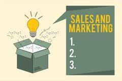 Продажи и маркетинг текста сочинительства слова Концепция дела для продвижения продавая распределение товаров или услуг стоковые фотографии rf