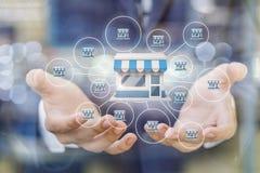 Продайте лицензию система маркетинга в руках бизнесмена стоковая фотография