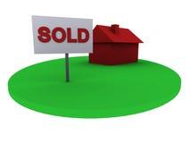 проданный дом зеленого цвета травы 3d Стоковое Изображение RF