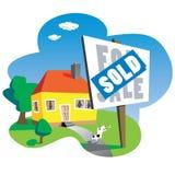 Проданный знак дома Стоковая Фотография RF