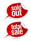 Продано вне, полные стикеры сбывания. иллюстрация штока