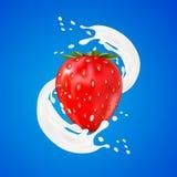 продвижение объявления вкуса югурта клубники 3d свирль выплеска молока с плодоовощами на белизне бесплатная иллюстрация