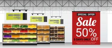 Продвижение подписывает внутри современную предпосылку супермаркета иллюстрация вектора