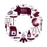 Продукты вектора обедающего партии ресторана барбекю мяса гриля BBQ дома skewer квартира оборудования кухни приготовления на грил Стоковые Изображения RF