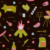 Продукты вектора обедающего партии ресторана барбекю мяса гриля BBQ дома skewer квартира оборудования кухни приготовления на грил Стоковые Фото