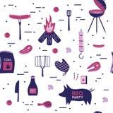 Продукты вектора обедающего партии ресторана барбекю мяса гриля BBQ дома skewer квартира оборудования кухни приготовления на грил Стоковое Фото