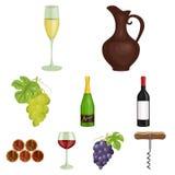 Продукты вина Растущие виноградины, вино Значок продукции лозы в собрании комплекта на запасе символа вектора стиля шаржа иллюстрация вектора