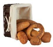продукты группы хлеба корзины различные Стоковое Изображение RF