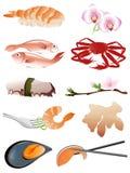 продукты моря икон Иллюстрация вектора