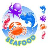 продукты моря логоса шаржа Стоковые Фото