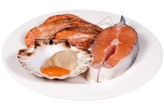 продукты моря плиты сырцовые Стоковая Фотография RF