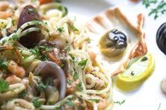 продукты моря тарелки крупного плана Стоковые Изображения RF