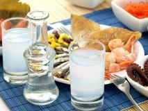 продукты моря ouzo стоковая фотография rf