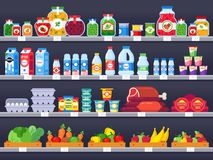 Продукты питания на полке магазина Полки покупок супермаркета, витрина продовольственного магазина и выбор упаковали продажу прод иллюстрация вектора