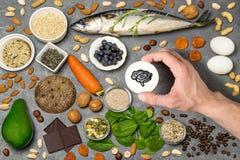 Продукты питания полезные для функции мозга Стоковое Изображение