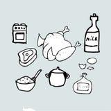 Продукты приготовления пищи, варя идею еды, вручают вычерченный шаблон Стоковое фото RF