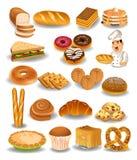 Продукты собрание хлебопекарни, хлеб, печенья, пирог иллюстрация штока
