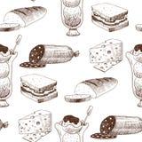 Продукт и кухня ресторана меню вектора эскиза еды естественной свежей нарисованные рукой doodle еда варя кухню схематичную иллюстрация штока