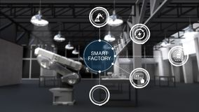 Продукт к использованию руки робота в умной фабрике Окруженный умный значок графика данным по фабрики Интернет вещей 2 иллюстрация вектора