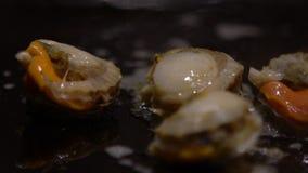 Продукт моря кухни замедленного движения Clams повара a шеф-повара на зажаренных используя палочках видеоматериал