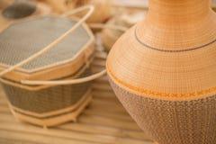 Продукт Basketry тайский OTOP от сухого weave травы Hygaliepa стоковое изображение rf