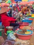 Продукция и люди на рынке Phonsavanh, Лаос стоковое фото rf