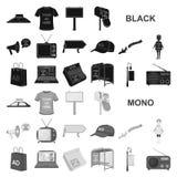 Продукция рекламировать черные значки в собрании комплекта для дизайна Сеть запаса символа вектора оборудования рекламы иллюстрация вектора