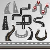 Проезжая часть и шоссе вектора дороги на карте с комплектом иллюстрации пути трассы обочины или перекрестка в тропе изолированной иллюстрация вектора