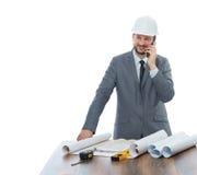 Проектируйте говорить на телефоне звонка на месте работы Стоковые Фото