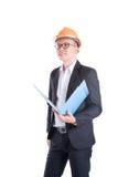 Проектируйте человека нося оранжевый шлем и черный костюм Стоковое фото RF