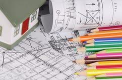 Проекты домов с моделью дома Стоковые Фото