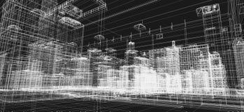 Проект зданий города, печать wireframe 3d, городской план зодчество иллюстрация вектора