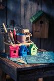 Проект малых дома и плана строительства птицы Стоковое Изображение