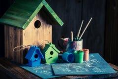 Проект дома для птиц и плана, который нужно построить его Стоковые Изображения RF