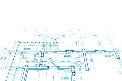 Проект плана здания, технический чертеж, ба светокопии конструкции Стоковые Изображения RF