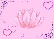 Vector wallpaper with pink flower lotus vector illustration