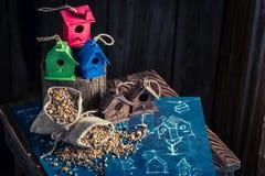 Проект фидера для птиц и плана строительства Стоковые Фотографии RF