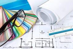 проект чертежей конструкции принципиальной схемы архитектора Стоковая Фотография RF
