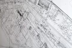 проект чертежей конструкции Стоковое Изображение