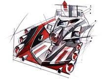 Проект эскиза концепция установки мультимедиа с акустической системой для автомобилей и музыкальных фестивалей Иллюстрация вектора