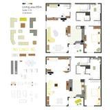 Проекция вектора плоская с мебелью Комплект Масштаб 1: 10 бесплатная иллюстрация