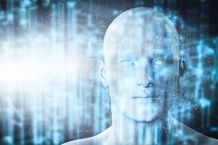 Проекция виртуальной реальности Будущая наука с современной технологией, искусственным интеллектом Стоковая Фотография RF