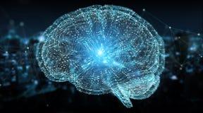 Проекция цифров 3D перевода человеческого мозга 3D иллюстрация штока